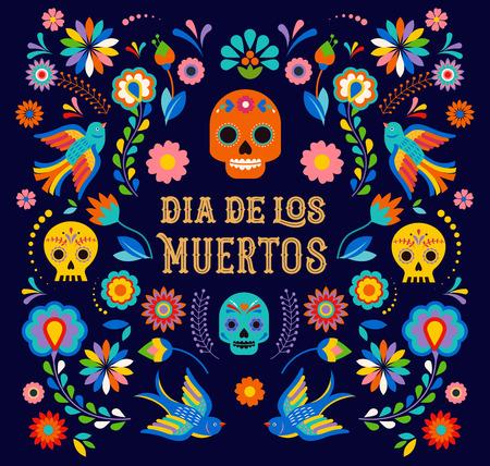 Giorno dei morti, Dia de los moertos, striscione con fiori messicani colorati. Fiesta, poster delle vacanze, volantino per feste, biglietti di auguri divertenti
