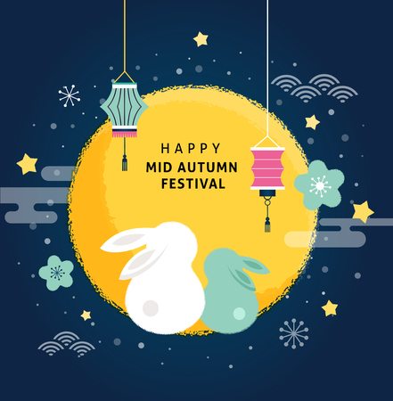 Mid Autumn Festival. Chuseok, Chinese wording translation: Mid Autumn. Vector banner, background and poster