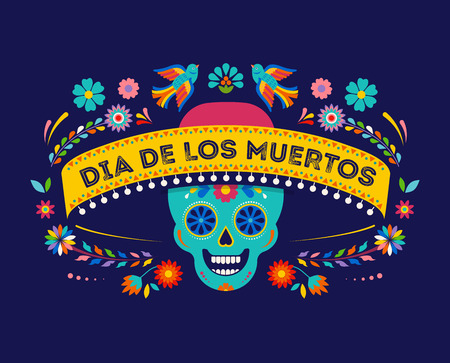 Day of the dead, Dia de los muertos background, banner and greeting card concept with sugar skull. Colorful vector illustration Illustration