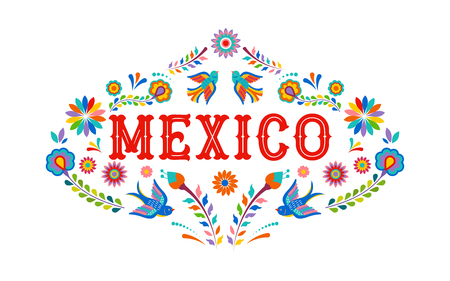 Mexico background, banner with colorful Mexican flowers, birds and elements. Vector illustration Ilustrace