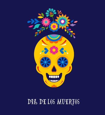 Day of the dead, Dia de los muertos background, banner and greeting card concept with sugar skull. Colorful vector illustration  イラスト・ベクター素材