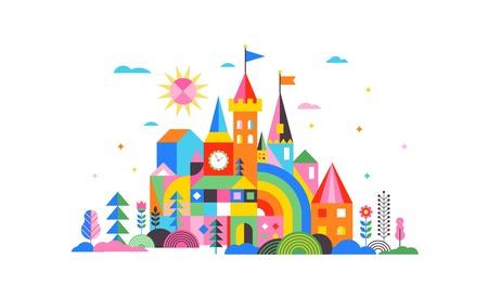 Geometric fairy tale kingdom, knight and princess magic castle, children room, class wall decoration. Colorful vector illustration