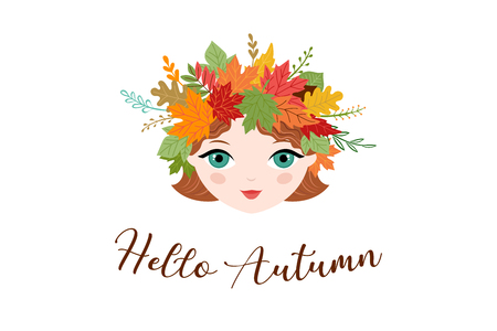 Hello Autumn, fall season background. Girl with circlet of autumn flowers and leaves, vector illustration