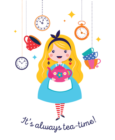 Alice in Wonderland banner, poster and card. We are mad here. Colorful vector background Illustration