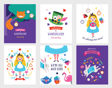 Alice in Wonderland banner, poster and card. We are mad here. Colorful vector background Ilustração