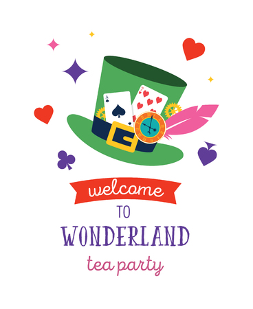 Alice in Wonderland banner, poster and card. We are mad here. Colorful vector background Vectores