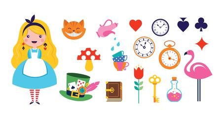 Alice in Wonderland banner, poster and card. We are mad here. Colorful vector background Иллюстрация