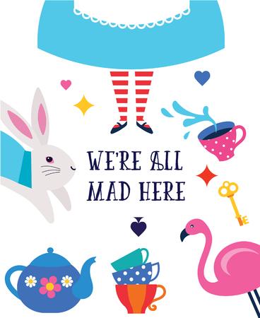 Banner, poster e carta di Alice nel paese delle meraviglie. Siamo pazzi qui. Sfondo colorato vettoriale