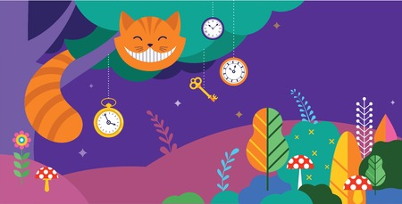 Alice in Wonderland banner, poster and card. We are mad here. Colorful vector background 矢量图像