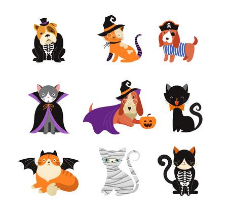 Feliz Halloween: perros y gatos disfrazados de monstruos, fiesta de Halloween. Ilustración vectorial, banner