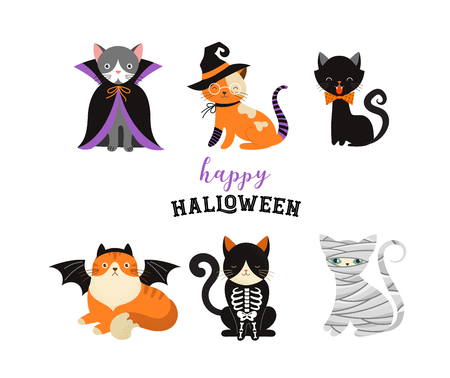 Halloween Cats Costume Party. Illustration and vector elements of group of cats in halloween costumes