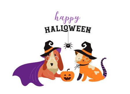 Happy Halloween - cats and dogs in monsters costumes, Halloween party. Vector illustration, banner