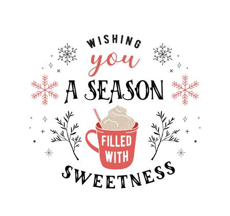 Style scandinave, carte de voeux joyeux Noël simple et élégante avec éléments dessinés à la main, citations, lettrage