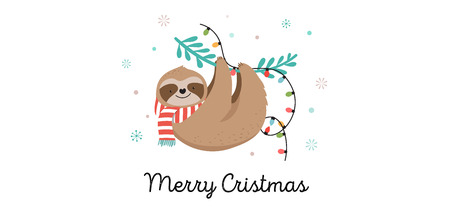 Cute sloths, funny Christmas illustrations with Santa Claus costumes, hat and scarfs, greeting cards set - stock vector banner Reklamní fotografie - 110270889