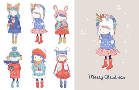 Dibujado a mano hermosa linda colección de niñas de invierno. Diseño de vector de tarjetas de felicitación de feliz Navidad