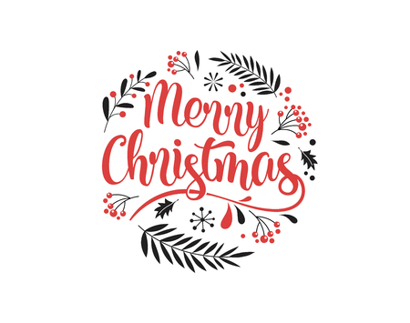 Merry Christmas Background with Typography, Lettering. Greeting card, banner and poster template