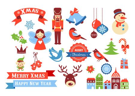 Buon Natale icone, elementi in stile retrò e illustrazione, tag ed etichette di vendita Vettoriali