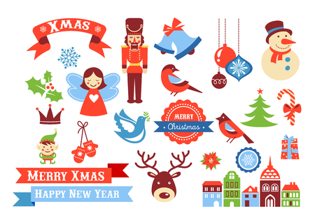 Merry Christmas icons, retro style elements and illustration, tags and sale labels Vectores