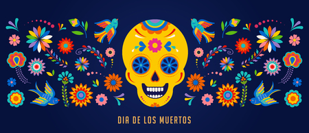 Day of the dead, Dia de los muertos background, banner and greeting card concept with sugar skull. Çizim