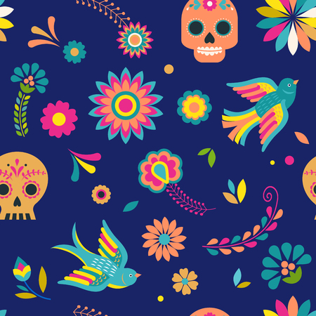 Day of the dead, Dia de los muertos background and seamless pattern . Colorful vector illustration