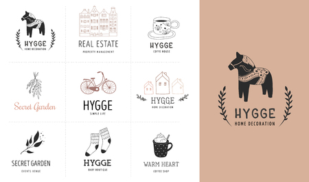 Hygge - Simple Life in Danish, collection of hand drawn elegant and clean logos, elements Illustration