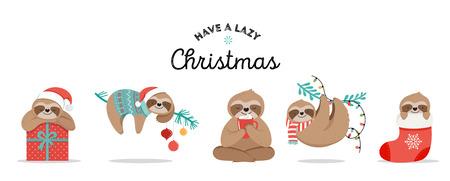 かわいい怠惰なナマケモノ、サンタクロースの衣装、帽子やスカーフ、グリーティングカードセット、バナーと面白いメリークリスマスのイラスト