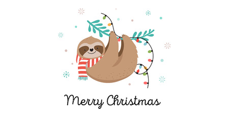 Cute lazy sloths, funny Merry Christmas illustrations with Santa Claus costumes, hat and scarfs, greeting cards set, banner 版權商用圖片 - 110023208
