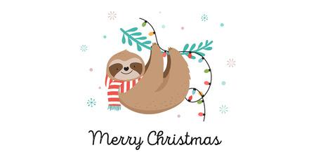 Paresseux paresseux mignons, illustrations drôles de joyeux Noël avec costumes du père Noël, chapeau et écharpes, jeu de cartes de voeux, bannière