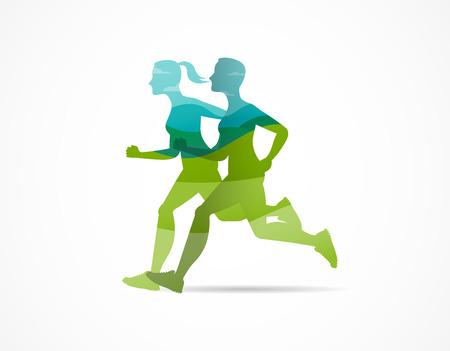 Führen Sie Symbol, Symbol, Marathonplakat und Logo aus Logo