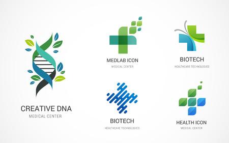 Symbole für Pharmazie, Medizin, Gesundheitswesen und Pharmazie, Logos - Stock-Vektoren