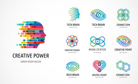 Cerebro, mente creativa, aprendizaje y diseño de iconos, logotipos. Cabeza de hombre, símbolos de personas - vector de stock