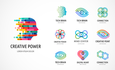Gehirn, kreativer Geist, Lern- und Designikonen, Logos. Mannkopf, Menschensymbole - Stock-Vektoren