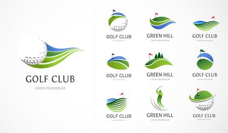 Collezione di icone, simboli, elementi e logo di mazze da golf