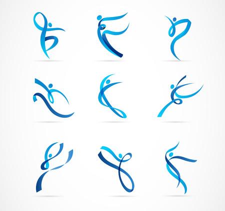 Création de logo de personnes abstraites. Gym, fitness, logo coloré vectoriel d'entraîneur de course. Fitness actif, sport, icône web de danse et symbole