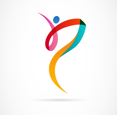 Abstract human figure logo design. Gym, fitness, running trainer vector colorful logo. Active Fitness, sport, dance web icon and symbol Illustration