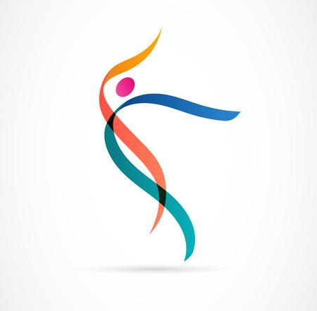 Création de logo de figure humaine abstraite. Gym, fitness, logo coloré vectoriel d'entraîneur de course. Fitness actif, sport, icône web de danse et symbole