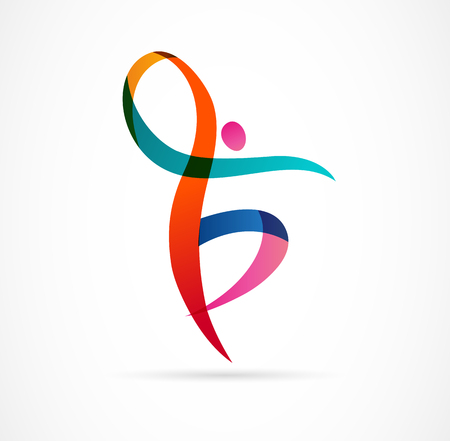 Abstract human figure logo design. Gym, fitness, running trainer vector colorful logo. Active Fitness, sport, dance web icon and symbol Logo