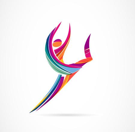 Création de logo de figure humaine abstraite. Gym, fitness, logo coloré vectoriel d'entraîneur de course. Fitness actif, sport, icône web de danse et symbole Logo