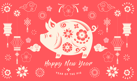 Happy Chinese new year 2019, the year of pig. Vector banner, background Reklamní fotografie - 112513265