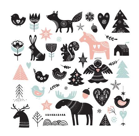 Ilustraciones navideñas, elementos e iconos dibujados a mano de diseño de banner en estilo escandinavo Ilustración de vector