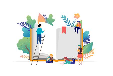 Buchfestivalkonzept - eine Gruppe kleiner Leute, die ein riesiges offenes Buch lesen. Vektorillustration, Poster und Banner