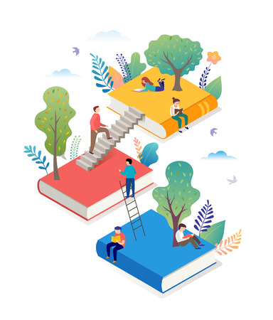 Book festival concept - a group of tiny people reading a huge open book. Vector illustration, poster and banner Ilustración de vector