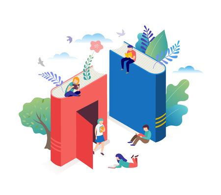 Buchfestivalkonzept - eine Gruppe kleiner Leute, die ein riesiges offenes Buch lesen. Vektorillustration, Poster und Banner Vektorgrafik