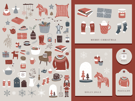 Nordische, skandinavische Winterelemente und Hygge-Konzeptdesign, Frohe Weihnachtskarte, Banner, Hintergrund, handgezeichnete Vektorgrafiken Vektorgrafik