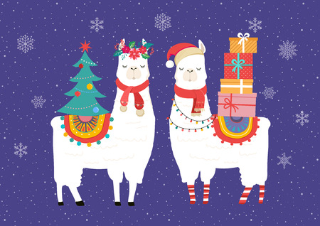 Llama winter illustration, cute design for nursery, poster, Merry christmas, birthday greeting card