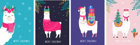 Llama winter illustration, cute design for nursery, poster, Merry christmas, birthday greeting card