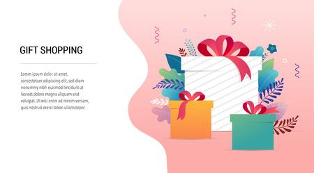 Promoción de Navidad, banner de año nuevo y plantilla de tarjeta, cartel de venta y volante con cajas de regalo y adornos navideños