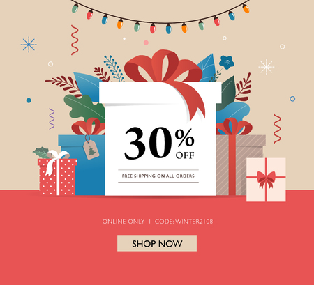 Promo Christmas, New Year banner and card template, Sale poster and flyer with gift boxes and Xmas decorations