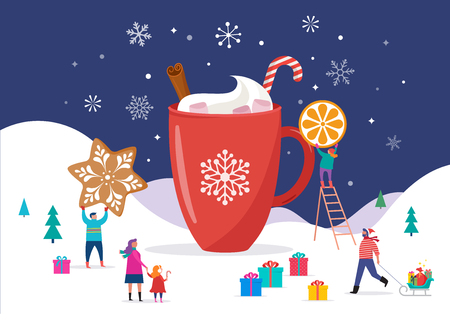 Merry Christmas, winter scene with a big cocoa mug and small people, young men and women, families having fun in snow, skiing, snowboarding, sledding, ice skating Vectores