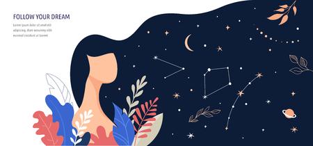 Illustrazione del concetto femminile, bella donna, cielo notturno per capelli pieno di stelle. Personaggio decorato con fiori e foglie.